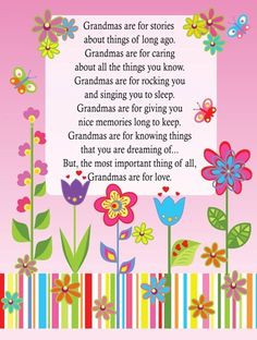 more grandma quotes flower card poem for grandmothers grandparents ...