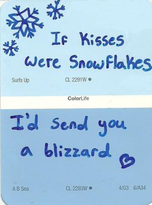 winter kisses quote quotes painting blue Sketch paint sample paint ...