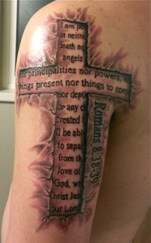 Cross and Bible quote Tattoo For I am convinced that neither death nor ...