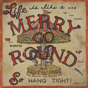Merry Go Round, a vintage road sign poster from artist Janet Kruskamp ...