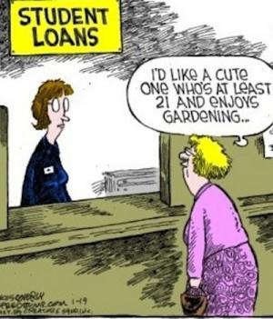 Funny Old Woman Student Loan Cartoon Image Joke Picture