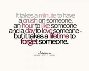 It takes a minute to have a crush on someone, an hour to like someone ...