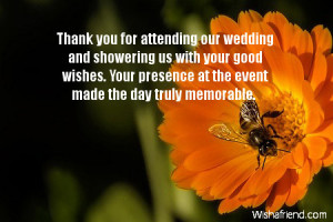 For Attending Our Wedding And Showering Your Good Wishes