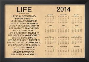 Mother Teresa Life Quote Motivational 2014 Calendar Poster Framed ...