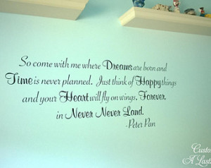 So come with me where Dreams Never Never Land Peter Pan BIG 55x21.5 ...