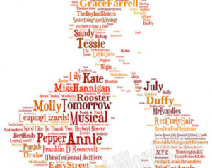 Annie Musical Print - Can be perso nalised. Image made of words ...