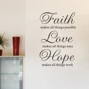 Faith Hope Love Vinyl Lettering words wall quotes graphics Home decor ...