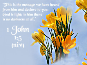... and declare to you: God is light; in him there is no darkness at all