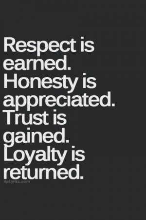 Respect honesty trust loyalty