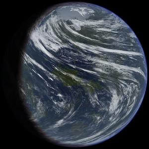 Artist's conception of a terraformed Venus.
