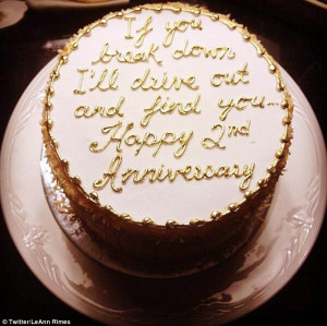 ... : The 30-year-old tweeted a snap of her anniversary cake, on Tuesday