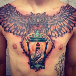 owl chest tattoo design