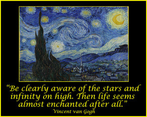 Van Gogh Motivational Quotes - Starry Night II Print by Jose A ...