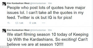 Take note Khloe! Kim reveals her anger at people posting 'quotes' on ...