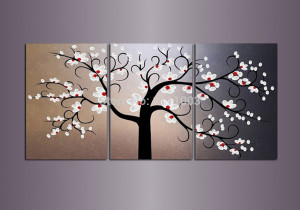 oil painting abstract framed 3 panel cherry blossom picture flower oil