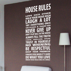 House Rule Family Love Wall Quotes / Wall Stickers / Wall Decals ...