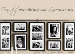 Decoration, Antique Family Photo Wall Display With Quotes Ideas ...