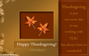... Thanksgiving!' An elegant thanksgiving card to send to your colleagues