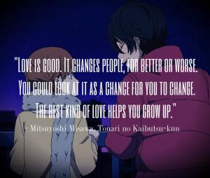 home quotes anime quote tonari no kaibutsu kun
