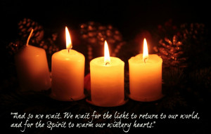 Advent candles with quote