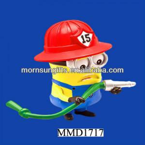 polyresin figur minion bombero figura articulada de la figura sea