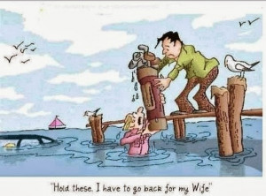 Funny Golfer Wife Drowning Clubs Cartoon Picture