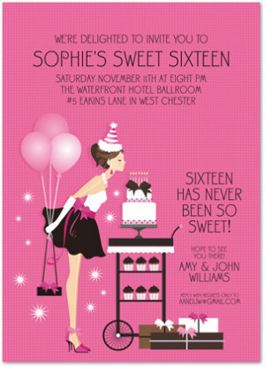 Sweet 16 Birthday Blowout Birthday Party Invitations