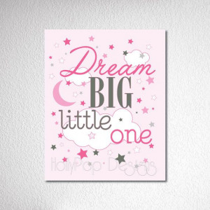 Decor-dream Big Little One quote-Baby Girl wall art-Pink-Inspirational ...