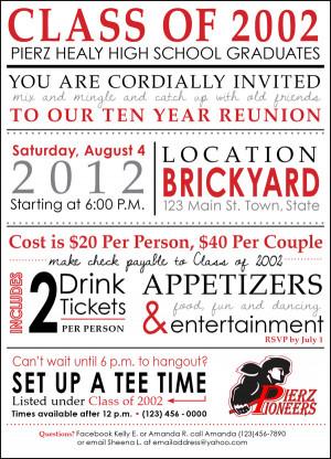 High School Class Reunion Invitations