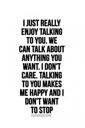 Talking with You makes me happy