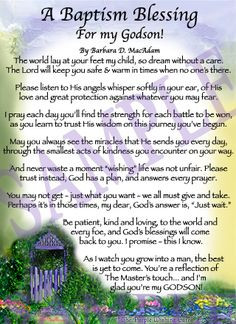 Blessing For A Godson | Affordable Inspirational Poem for Sister ...