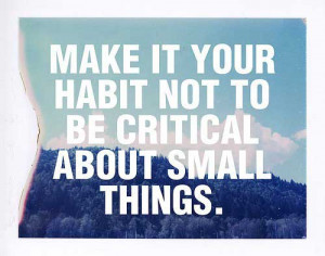 Make it your habit not to be critical about small things