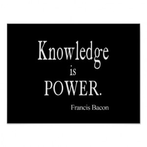 Vintage Francis Bacon Knowledge is Power Quote Print