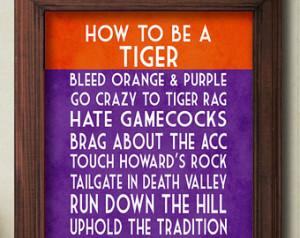Clemson Tigers Art Print, Clemson T igers Quote Poster Sign, Clemson ...