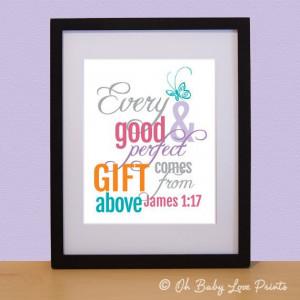 Butterfly Bible Verse - James 1:17 - Nursery Art Print - 8x10 - Oh ...