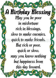 Search Results for: Irish Blessing Birthday