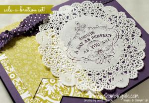 Elegant vintage stamp on crisp paper doily. So pretty!