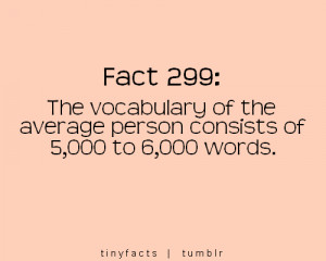 Fact Quote : The vocabulary of an average person.