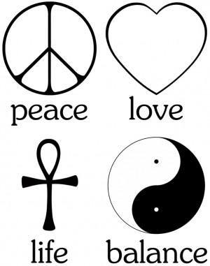 (peace sign), Love (cupid heart), Life (Egyptian Ankh) and Balance ...
