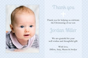 CT001 Alexander Blue Christening Thank you Card
