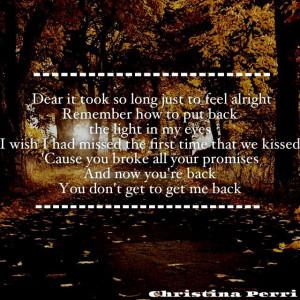 Christina Perri~ Jar Of Hearts quote I love her lyrics