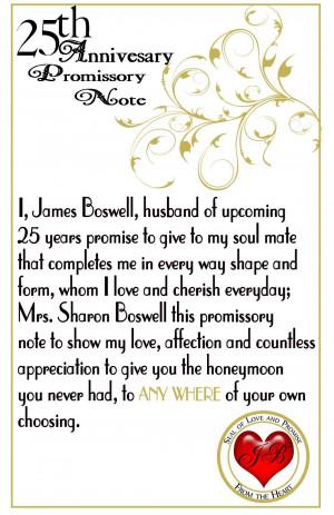 25th Wedding Anniversary Promissory Note