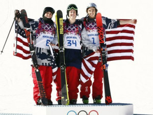 Joss Christensen, Gus Kenworthy, and Nick Goepper of the United States ...
