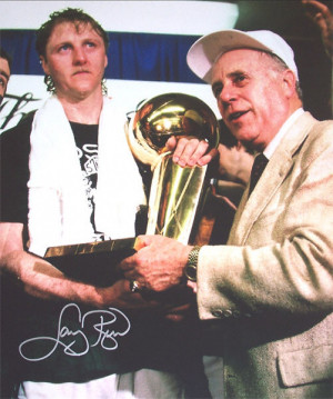 Larry Bird Boston Celtics with Auerbach and Trophy Autographed 16x20 ...