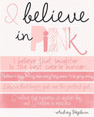 Believe in Pink Wall Art Printable Audrey by themeekboutique. $5.00 ...