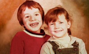 Abandoned: Verity aged six with her brother Tom