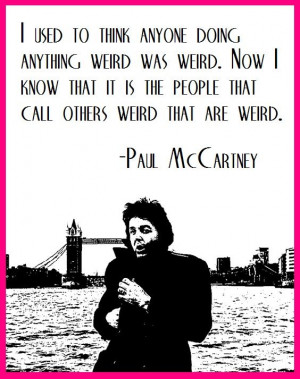 Paul McCartney wielding a weird quote...