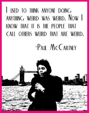 Paul McCartney wielding a weird quote...