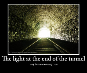 ... may be an oncoming train. Download Light at the end of tunnel photo