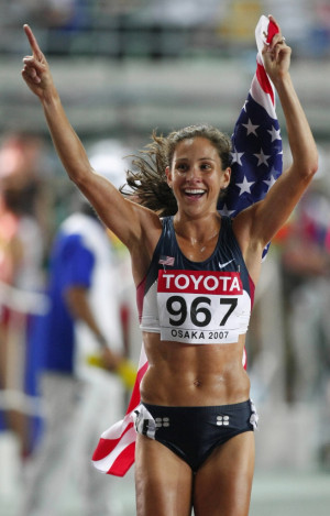 Author Kara Goucher after she won the bronze medal in the 10,000m at ...